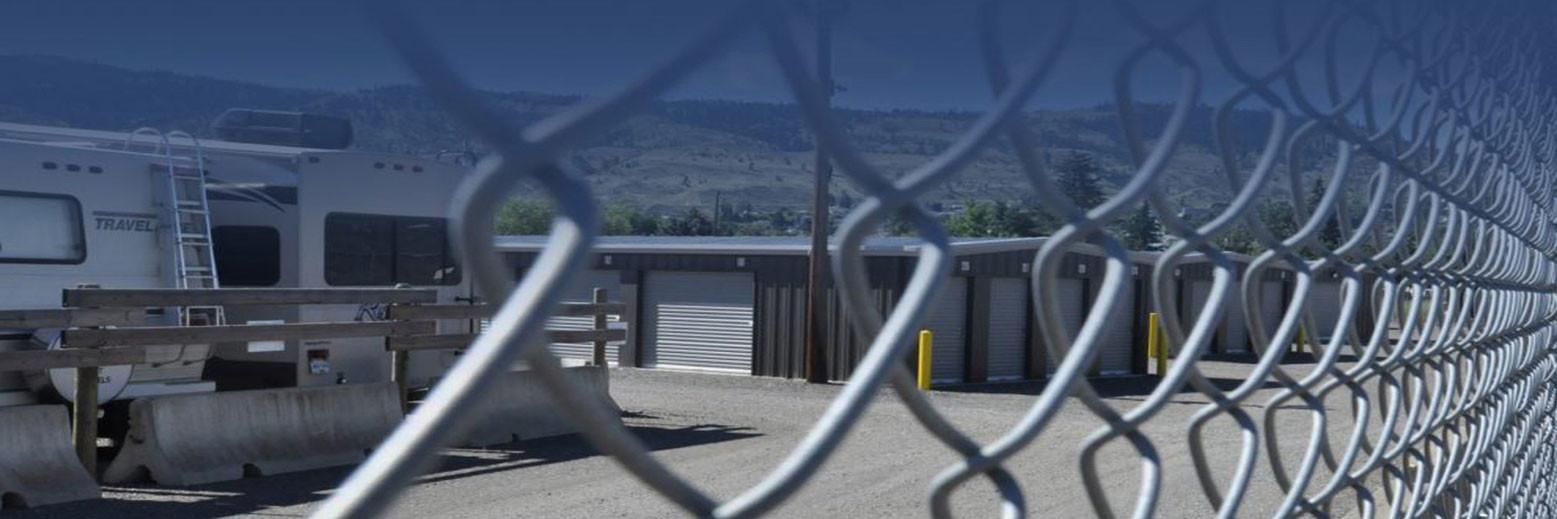 chain link fence around los rios storage facility in kamloops